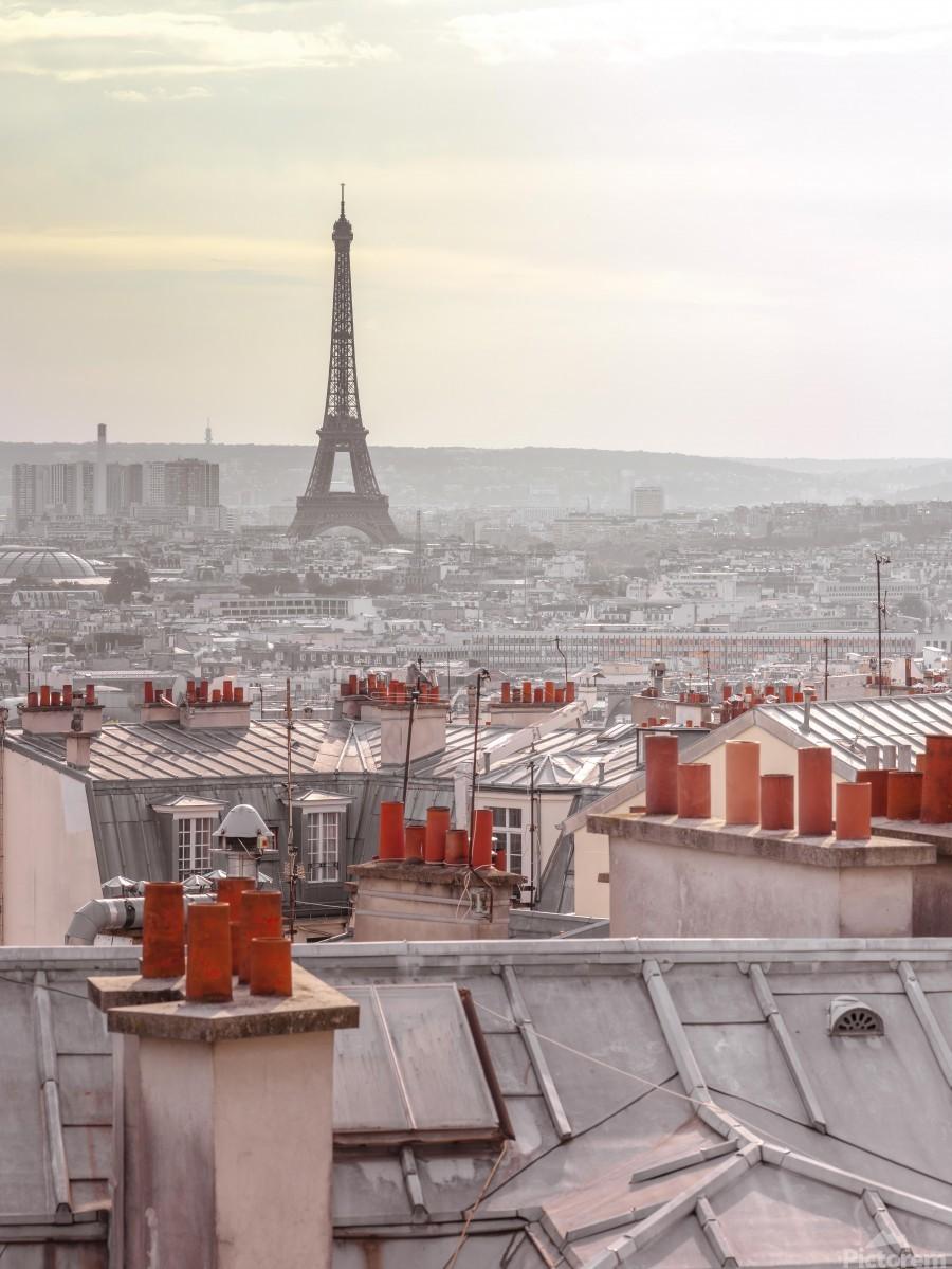 Eiffel Tower seen through the window of an apartment in Montmartre, Paris, France  Print