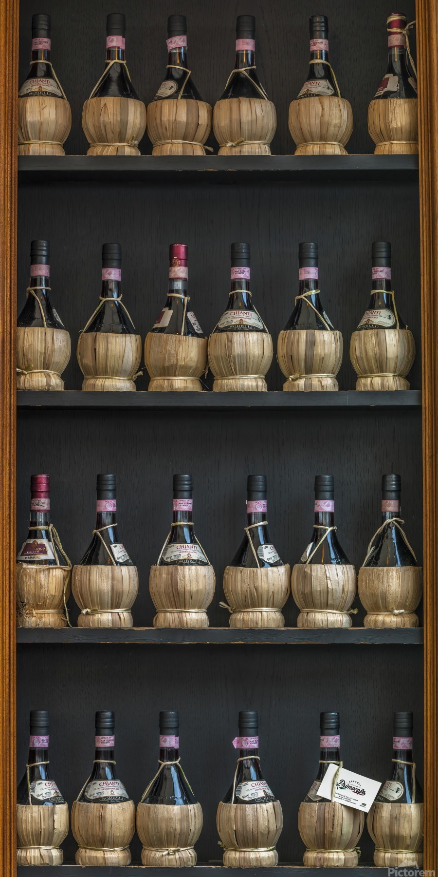 Old wine bottles on wooden shelf  Print