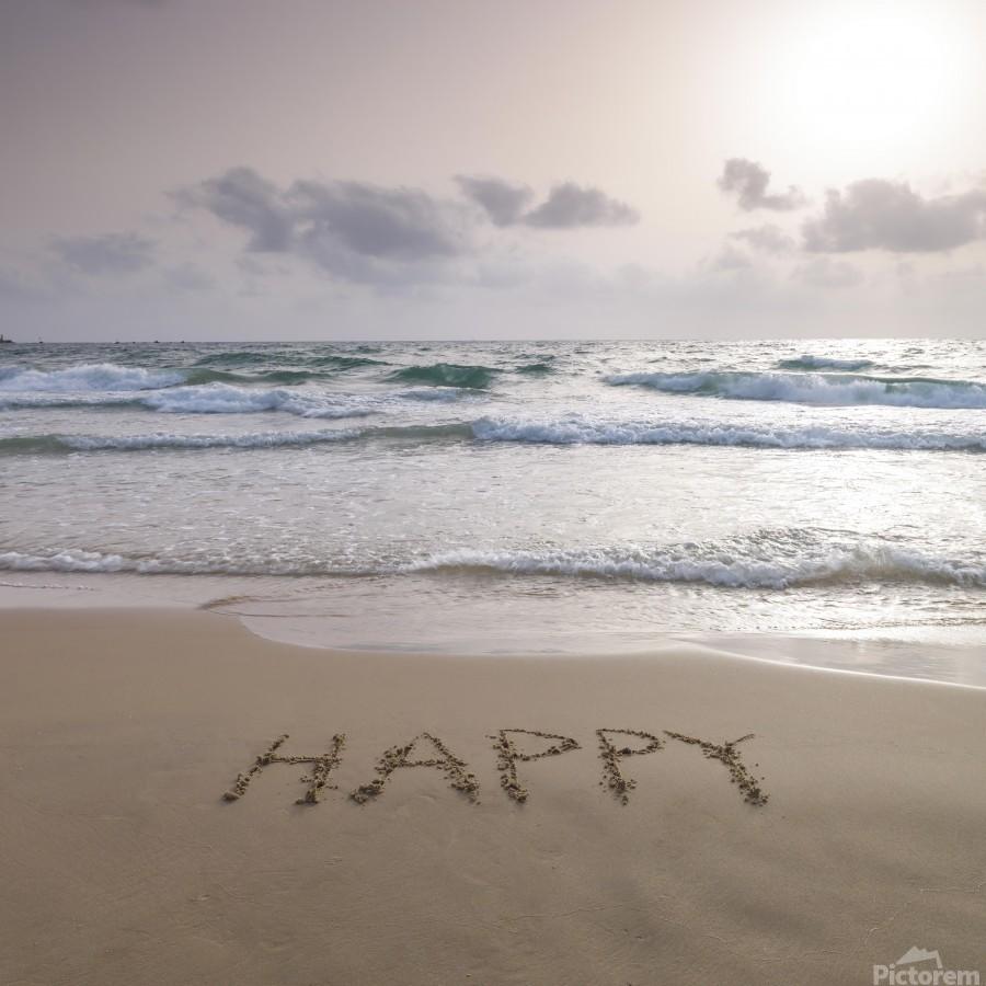 Sand writing - Word Happy written on beach  Print
