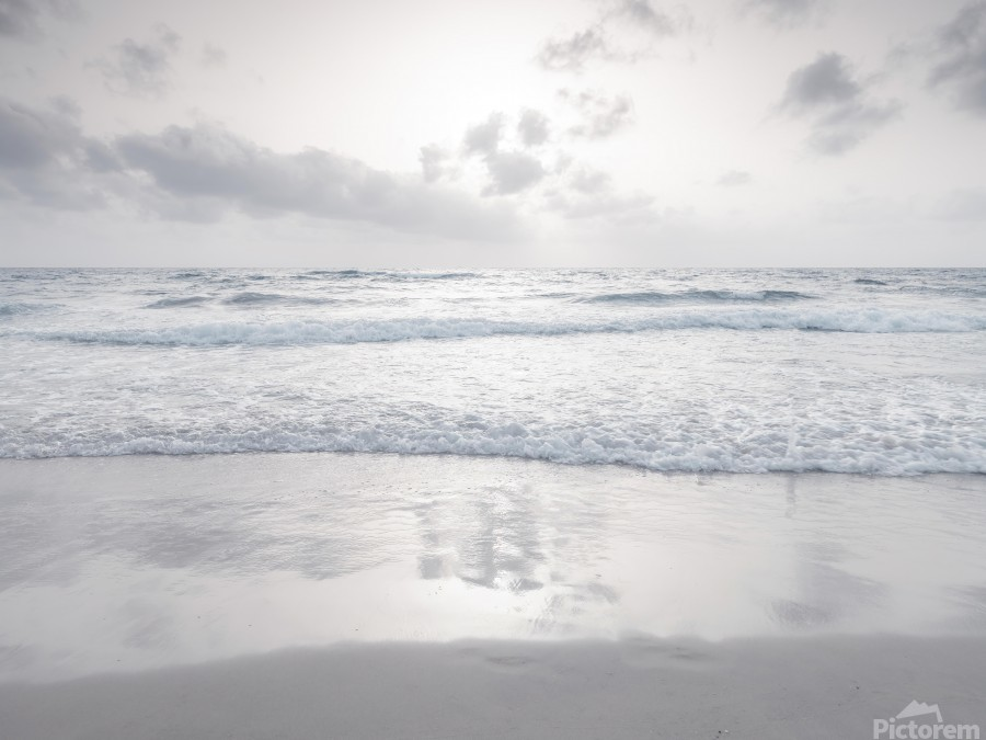 Tranquil beach with cloudscapes  Print