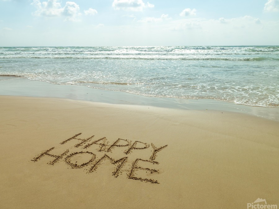 Happy Home written in sand on the beach  Print