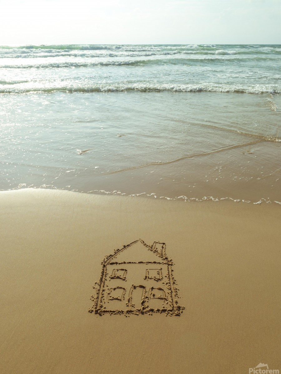 Sweet home drawn on sand at the beach  Print