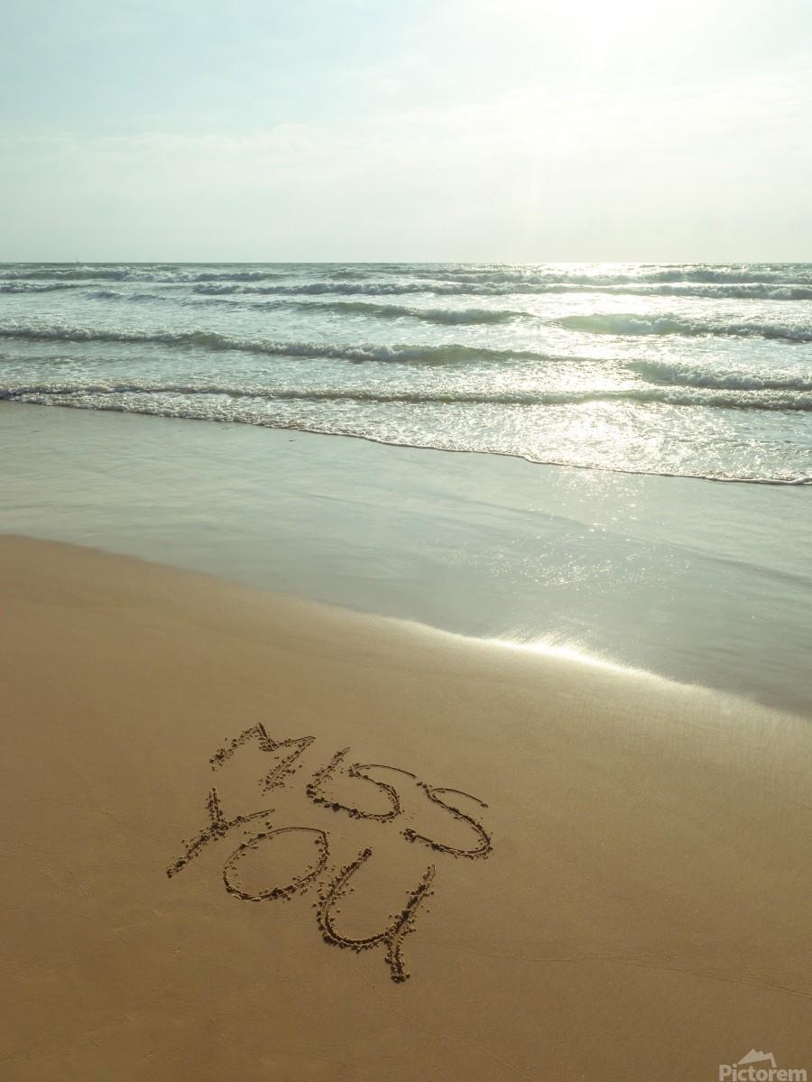Miss You written on the beach  Print