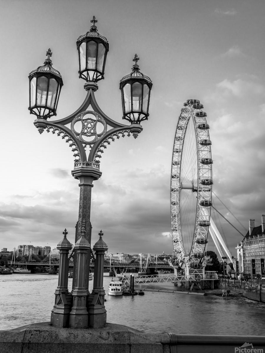 Street lamp with London Eye, London, UK  Print