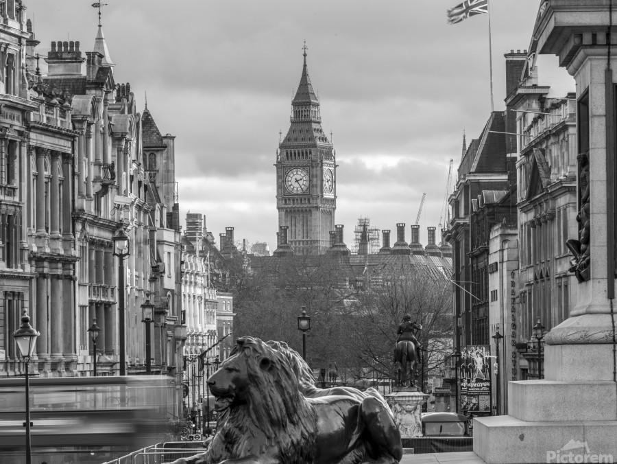 Trafalgar Square with Big Ben in background  Print