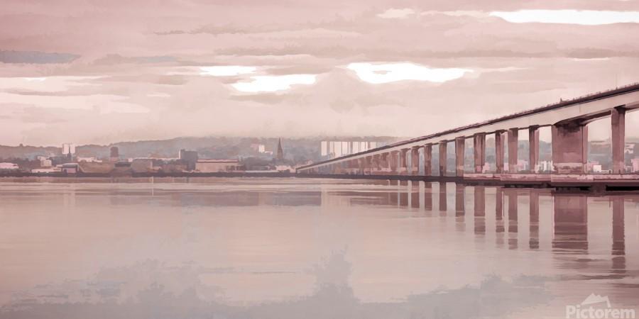 Tay Road Bridge over river Tay, Dundee, Scotland  Print