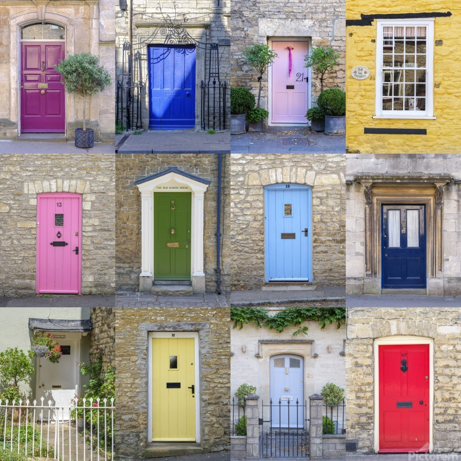 Collage of old doors, Cotswold, UK  Print