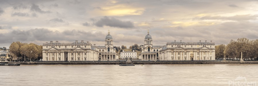 Royal Naval College at Greenwich with a view from the River Thames  Print
