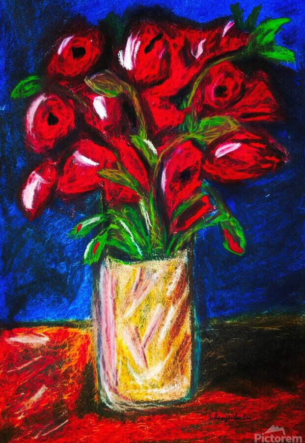 Red Cala Lilies  Print