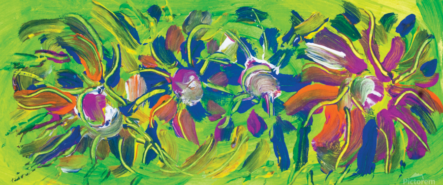 abstract multicolored flowers  Print