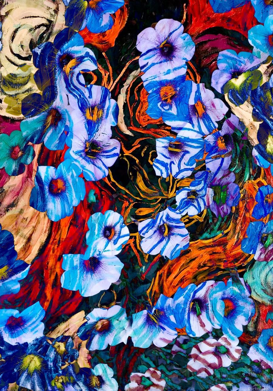 floral mottled indigo  Print