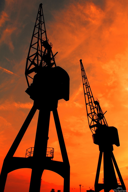 Sunset port tower cranes  Print