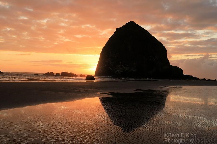 Haystack Rock at Sunset  Print