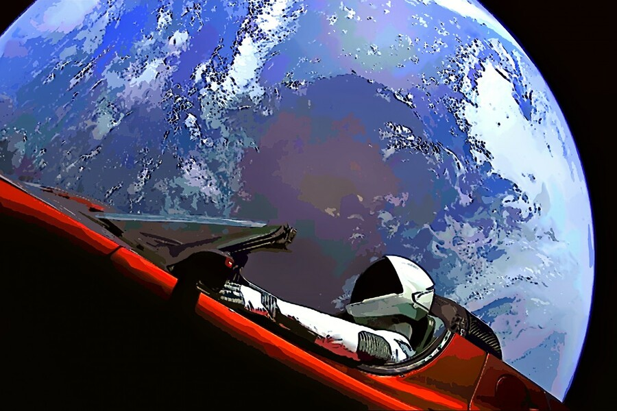 StarMan in Tesla Above Planet Earth  Print
