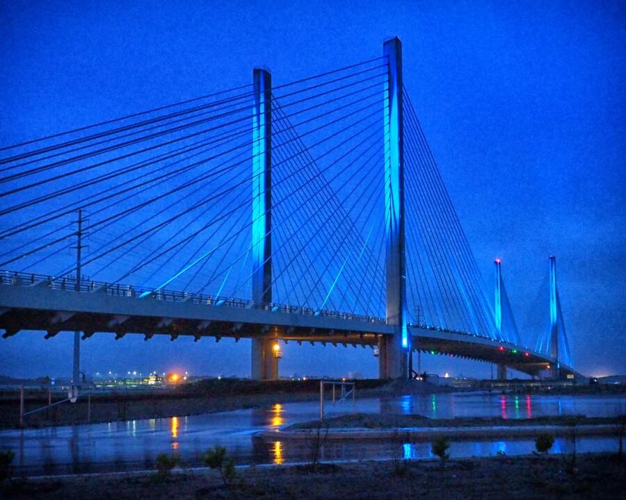 Blue Bridge In The Rain At Indian River Inlet  Print