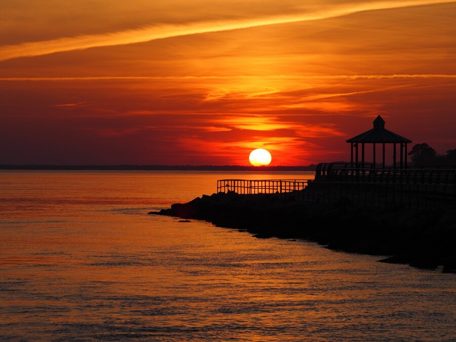 Sunset Over Indian River Inlet And Bay  Print