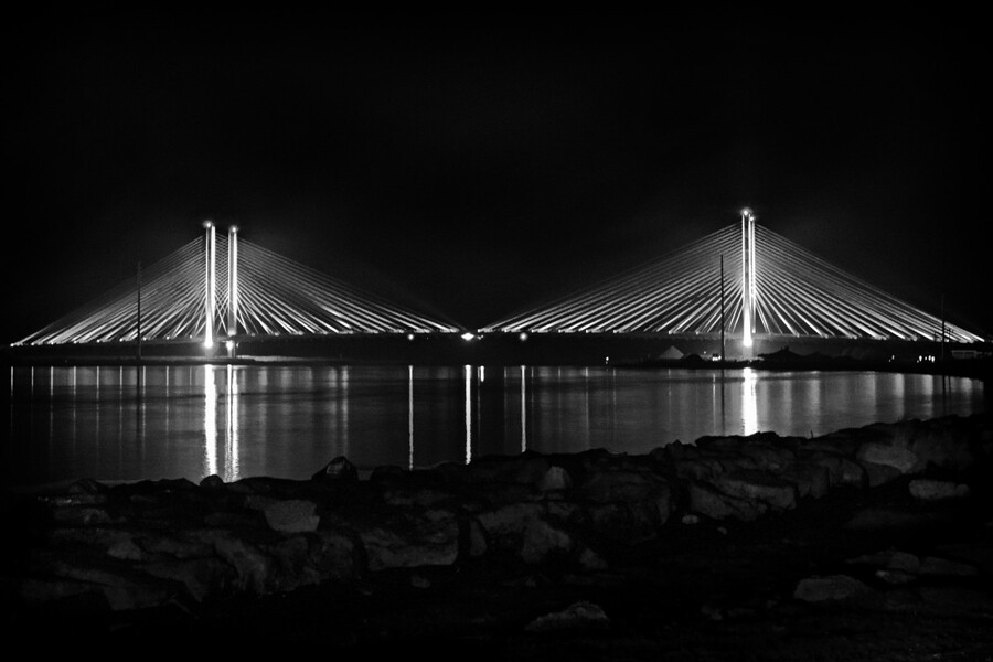 Indian River Bridge After Dark in Black and White  Print