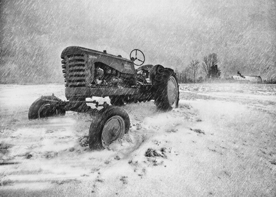 Winter Snow  Mountain Farm And Old Tractor  Print