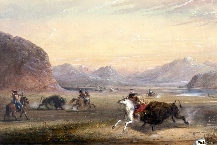 Buffalo Hunting, near Independence Rock  Print