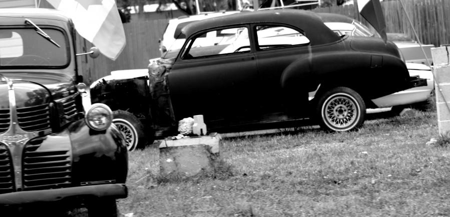 Black and White Vintage Cars  Print