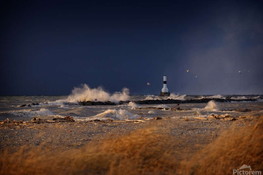 Lighthouse at Conneaut Ohio on Lake Erie during storm  Print