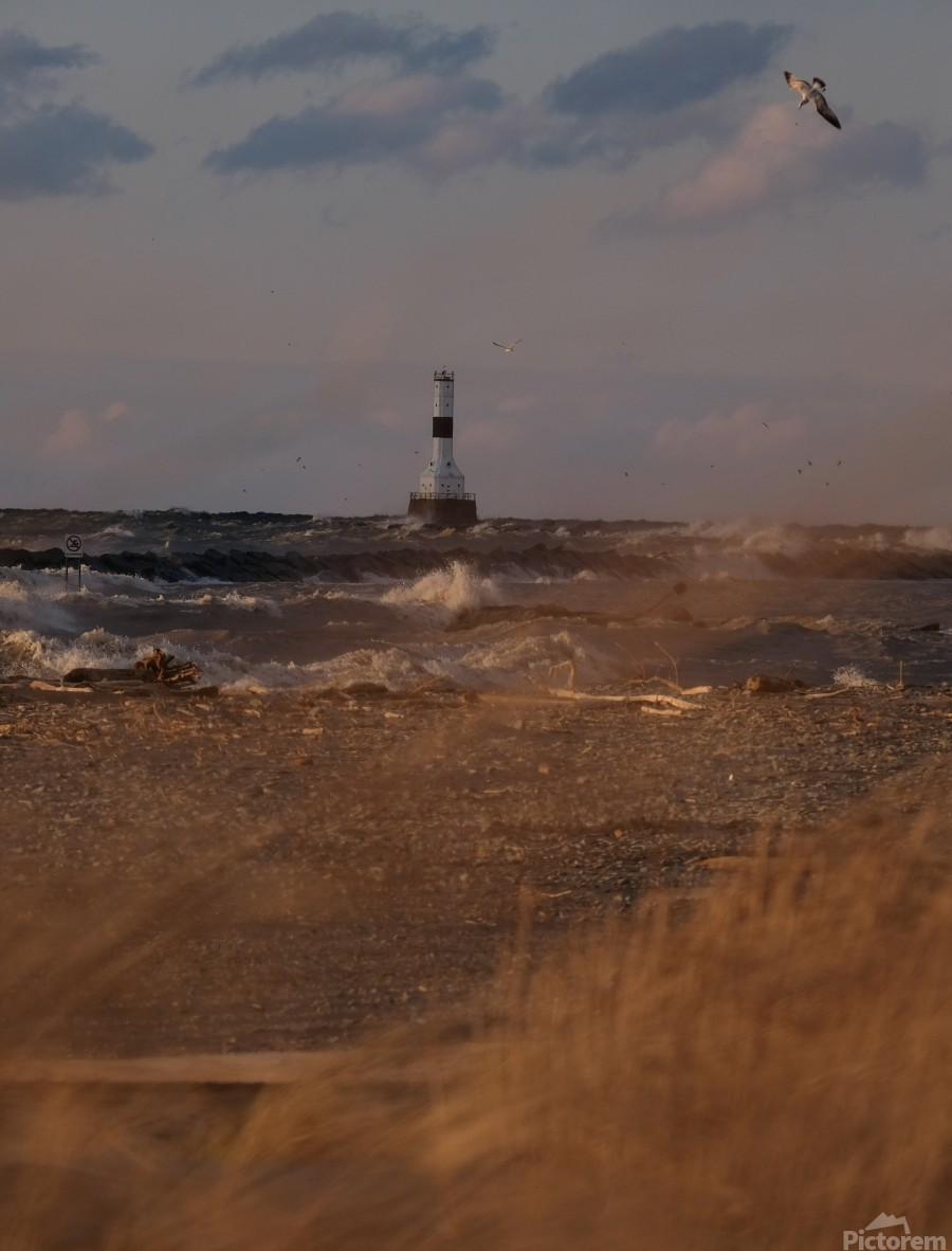Conneaut Ohio lighthouse during storm  Print