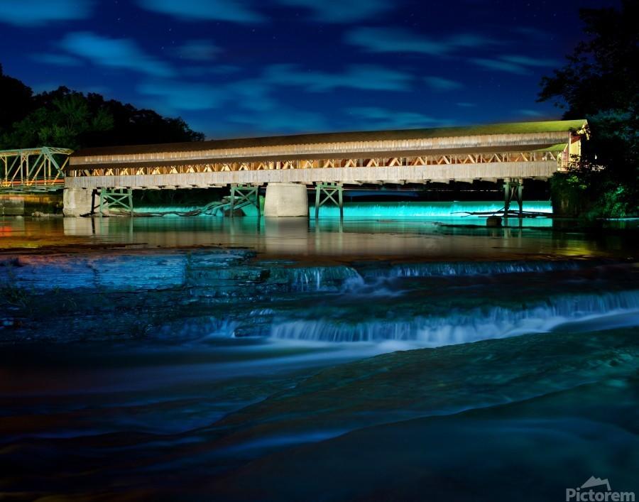 Night image of Harpersfield Covered Bridge over Grand River Ohio  Print