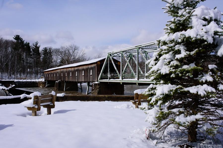 Harpersfield Ohio covered bridge winter and snow  Print
