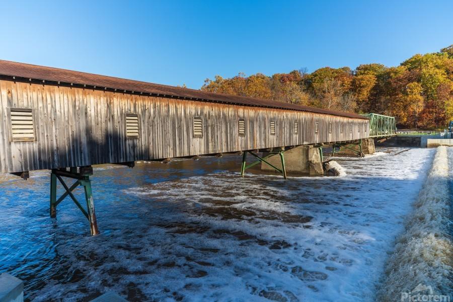Harpersfield covered bridge and dam Ashtabula County autumn 2020  Print