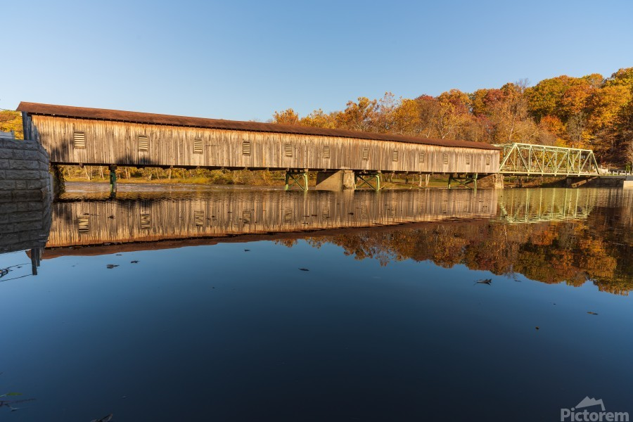 Harpersfield covered bridge and reflection Ashtabula County Ohio  Print