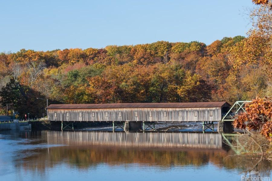Harpersfield Ohio covered bridge autumn 2020  Print