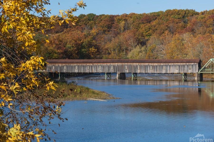Harpersfield Ohio covered bridge in autumn  Print