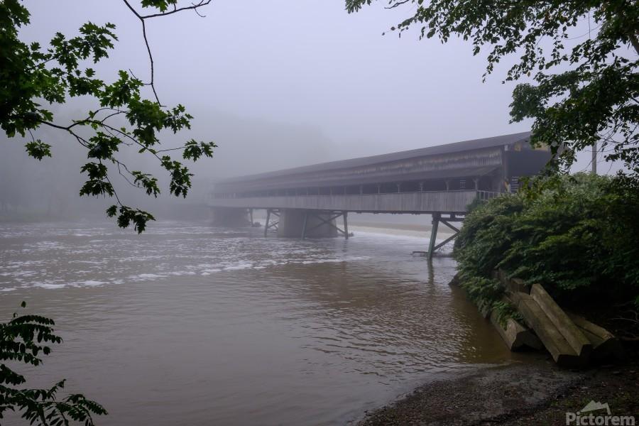 Harpersfield Ohio covered bridge in fog  Print