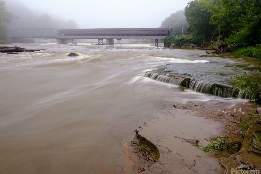 Grand River rapids at Harpersfield Covered Bridge Ohio  Print