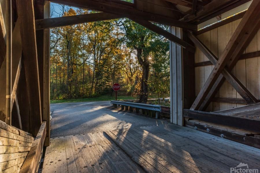 Portal of Mechanicsville covered bridge Ashtabula County Ohio  Print