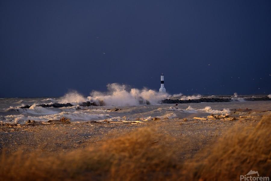 Conneaut lighthouse in storm  Print