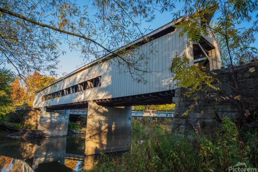 Mechanicsville covered bridge over Grand River Ohio  Print