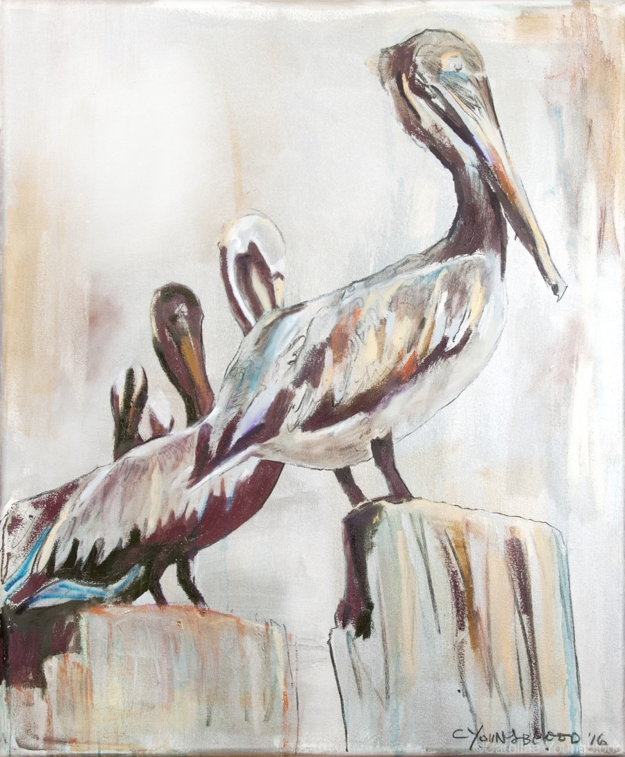 Louisiana Pelicans in the Fog with Metallic Silver  Print