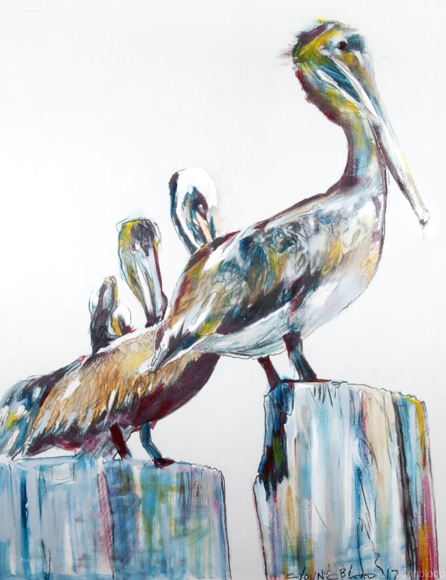Bold Louisiana Pelicans in the Fog  Print