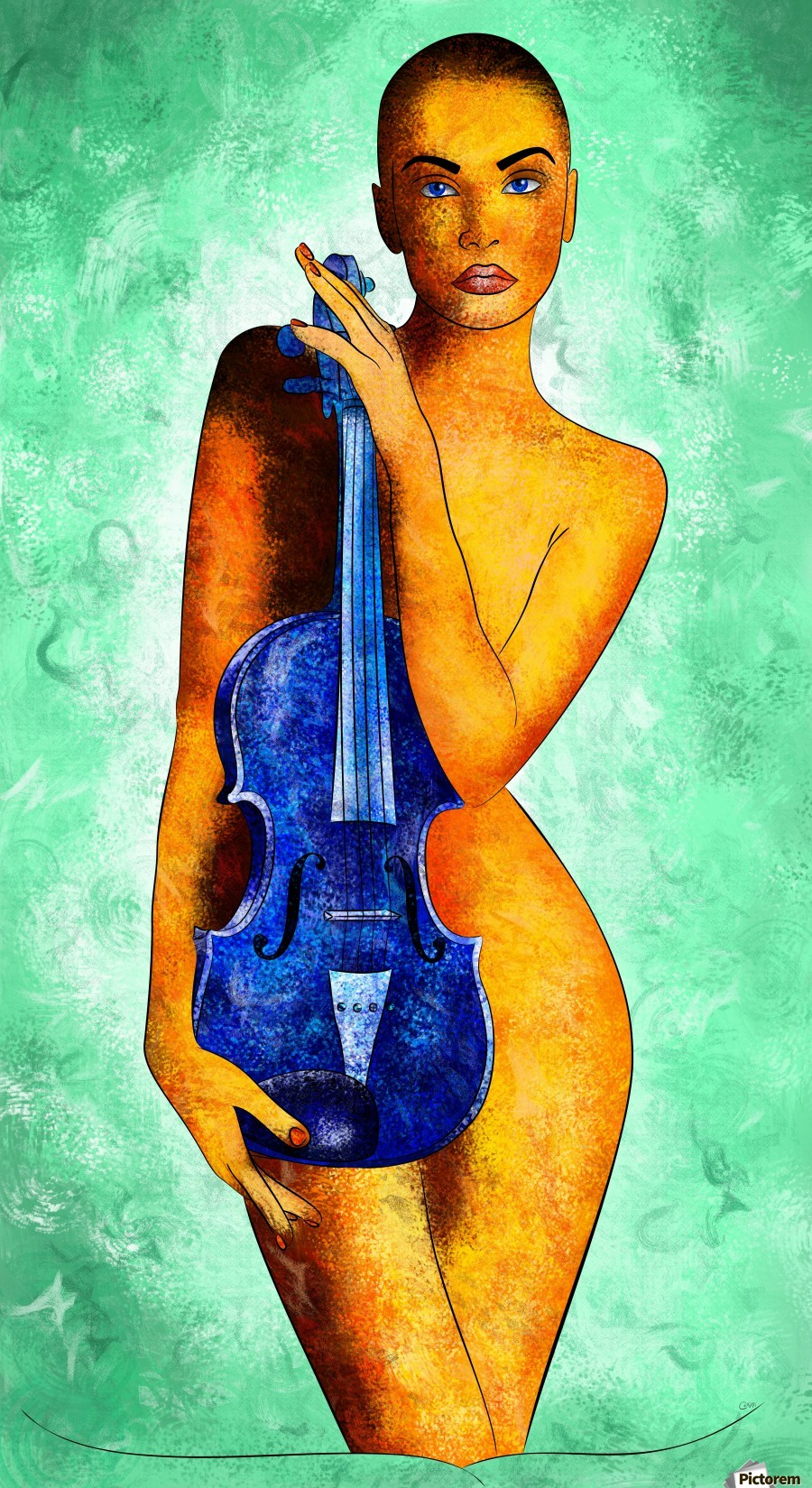 Bellaseussa - beauty with violin  Print