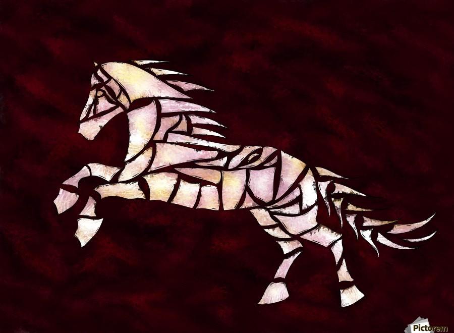 Cavallerone - white horse  Print