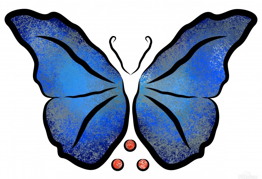 Deonioro - deep blue night butterfly with pearls  Print