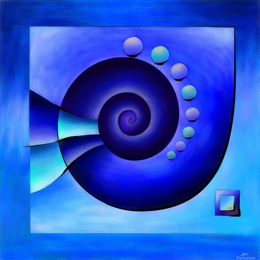 Escanissimera - endlessly limited blue spiral snail  Print