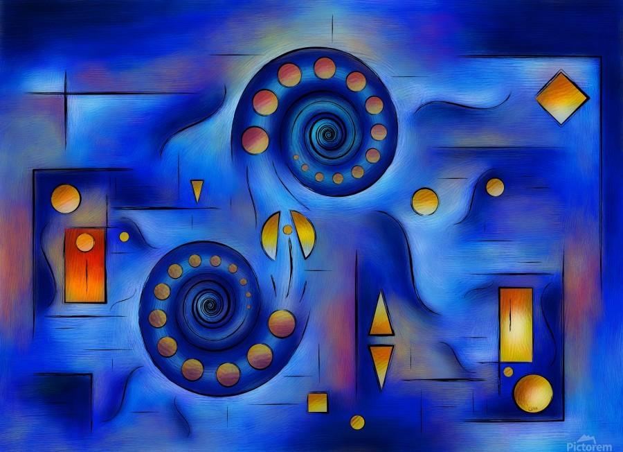 Grefenorium - blue spiral world  Print