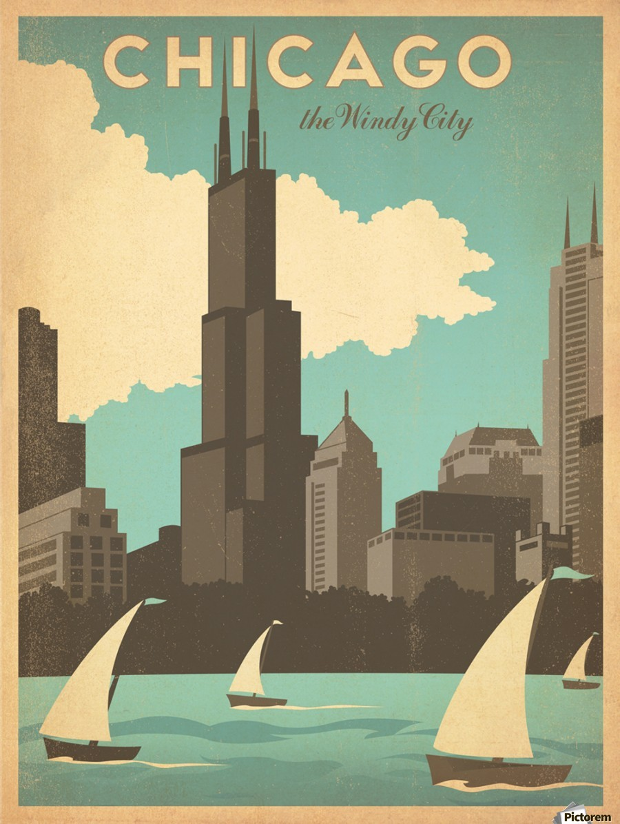 Chicago The Windy City American Travel Poster Vintage Poster