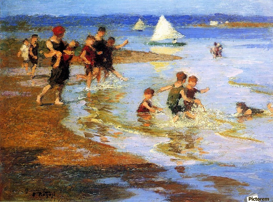 Children at Play on the Beach  Print