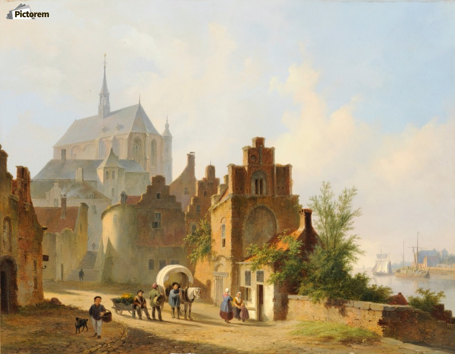 Continental Town Scene with Figures beside a Horse and Cart in a Sunlit Street  Print
