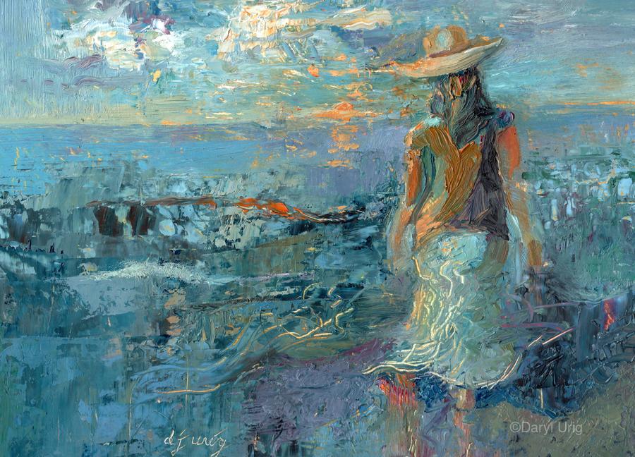 Woman on a Twilight Beach  Print