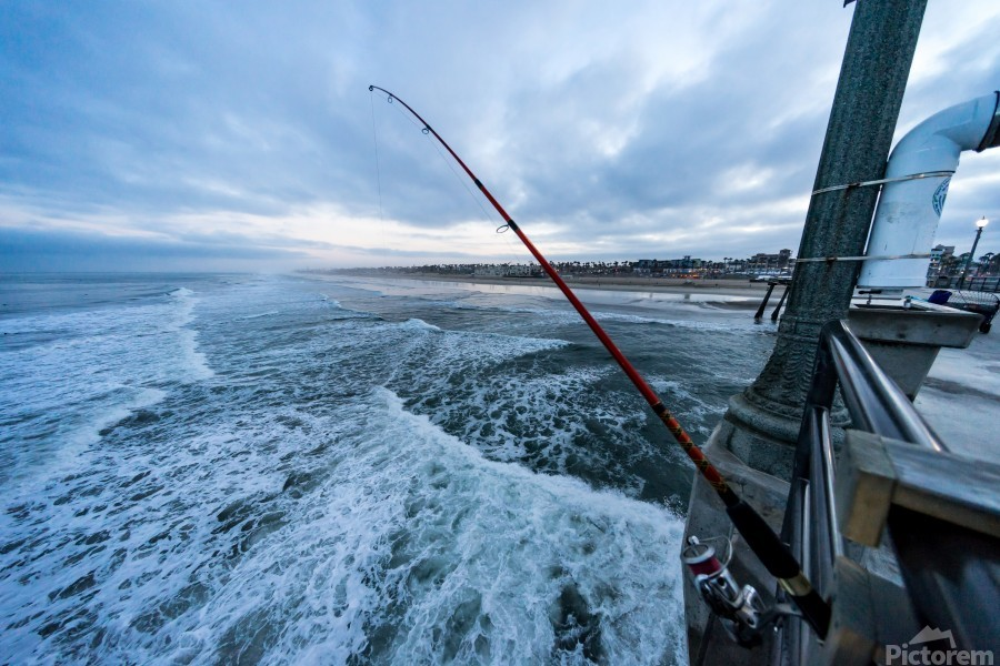 Fishing in Huntington Beach  Print