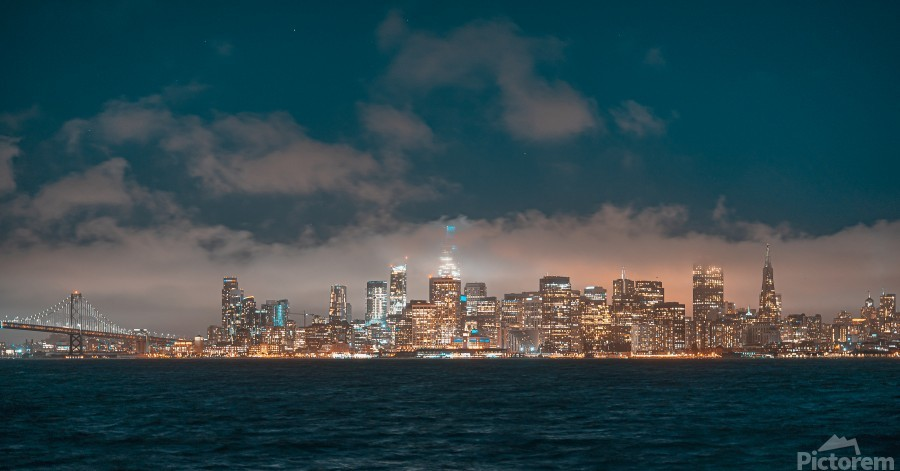 Cloudy San Francisco Night Skyline  Print